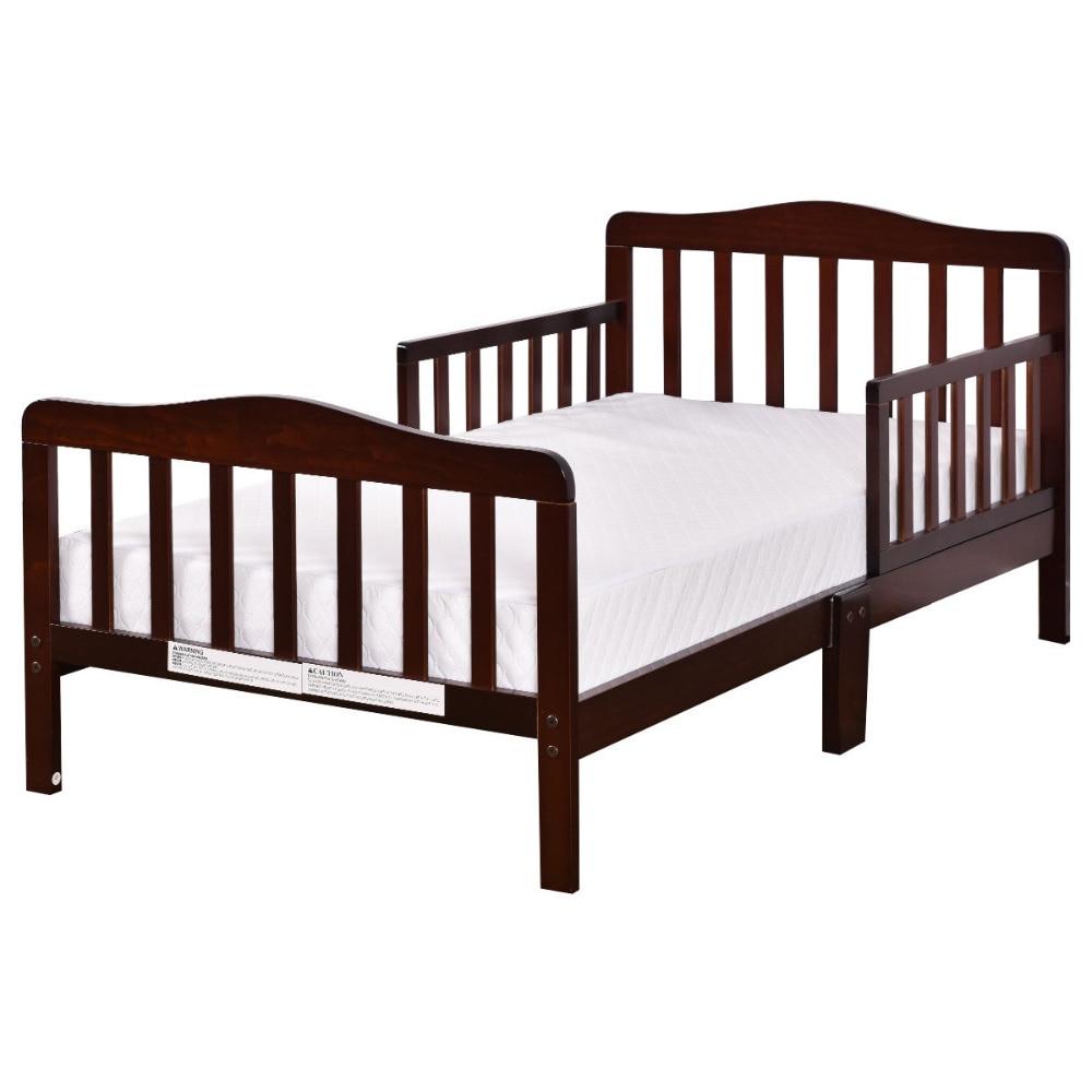 Baby Toddler Bed Kids Children Wood Bedroom Furniture W/Safety Rails Espresso BB4596BN