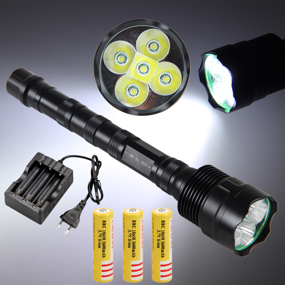 VastFire Tactical 10000LM 5X XML T6 LEDHunting Flashlight Light Torch 3x18650+CH фонарик 5 3000lm 3 x xml t6 1 x 18650