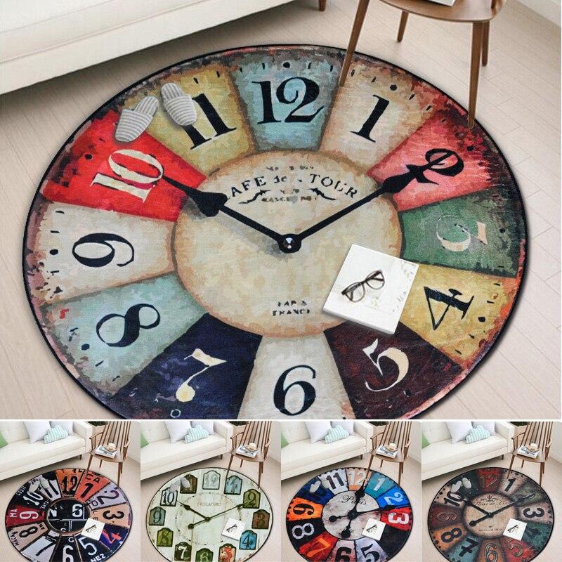 Europe Retro Wall Clock Pattern Round Carpet Kids Living