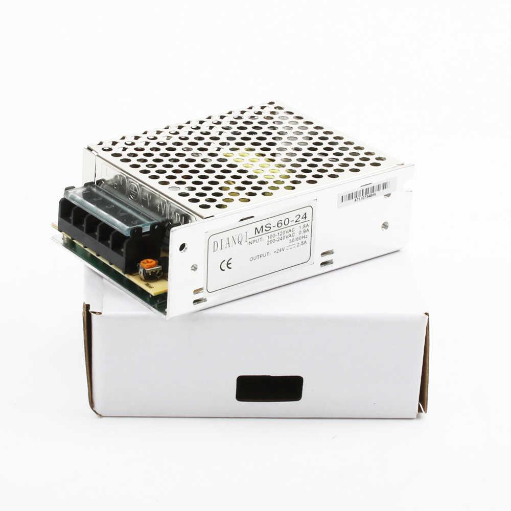 DIANQI импульсного источника питания S-60W 24V 15V 12V 5V блок питания мини размер din led преобразователь переменного тока в постоянный S-60-5 S-60-12 S-60-15 S-60-24