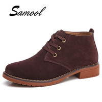 Spring Autumn Women Retro Style Oxford Shoes Brown Flats Women Leather Suede Lace Up Ankle Boots