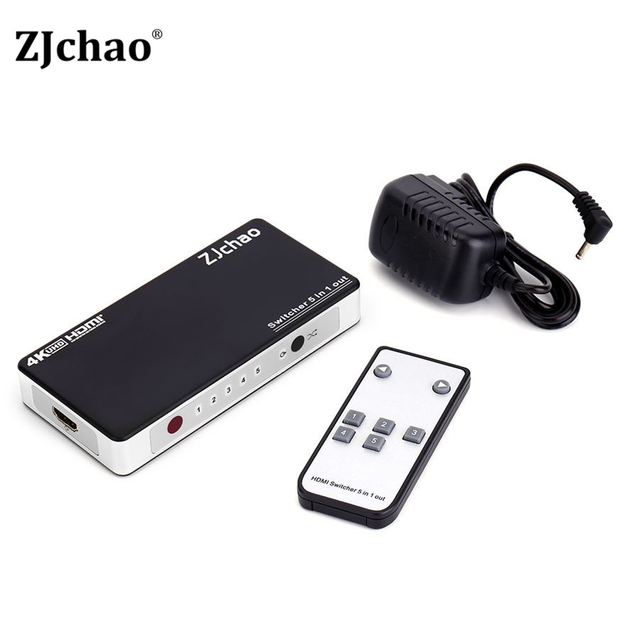 HDMI Switch Splitter 5 Port HDMI Splitter 5 in1 Hub Box Auto Ultra For HDtv 4K x 2K 3D 1080p HD 1.4 IR with Remote Control Hot