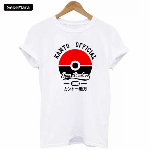 85b3691adb742 New Design KANTO OFFICIAL Letter Print T-shirts Women O-neck White Pokemon  Go T Shirt Casual Loose Tshirt Plus Size H961