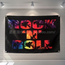 """ROCK N ROLL"" Rock Band Hängen Kunst Wasserdichte Tuch Polyester Stoff 56X36 zoll Fahnen banner Bar cafe Hotel Decor(China)"