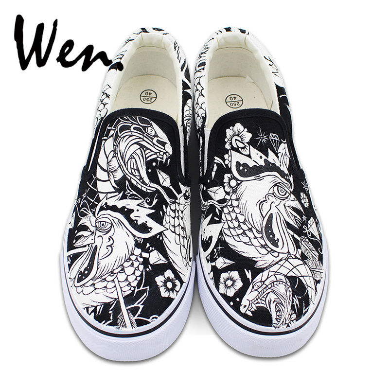 Wen Shoes Canvas Flats Slip on Hand Painted Sneakers Original Design Cock Rooster Snake Flowers Skateboarding Flats wen original hand painted canvas shoes space galaxy tardis doctor who man woman s high top canvas sneakers girls boys gifts