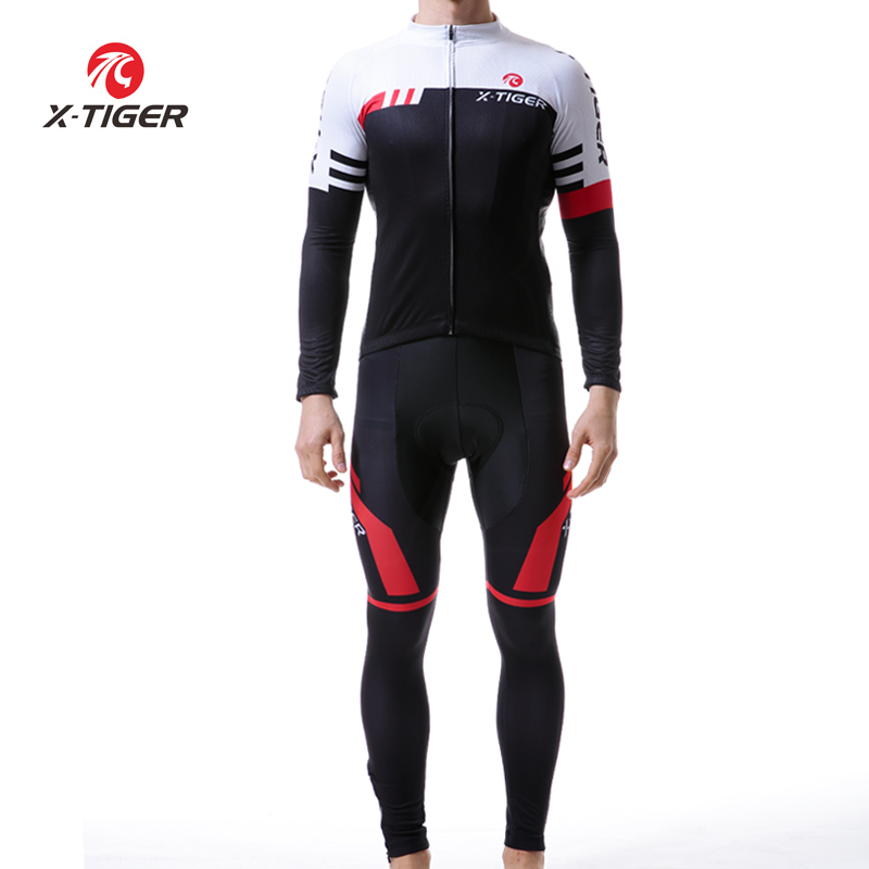 X TIGER Cycling Jersey Set Long Sleeve Breathable Cycling Clothing 5D Gel Pad Pants Sport Clothes