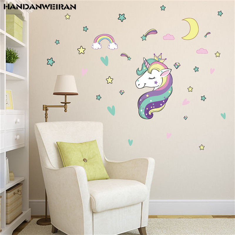 1PCS Colorful Stars Unicorn Wall Stickers For Childrens Kindergarten Decoration Home Decor35*50CM DROP SHIPPING