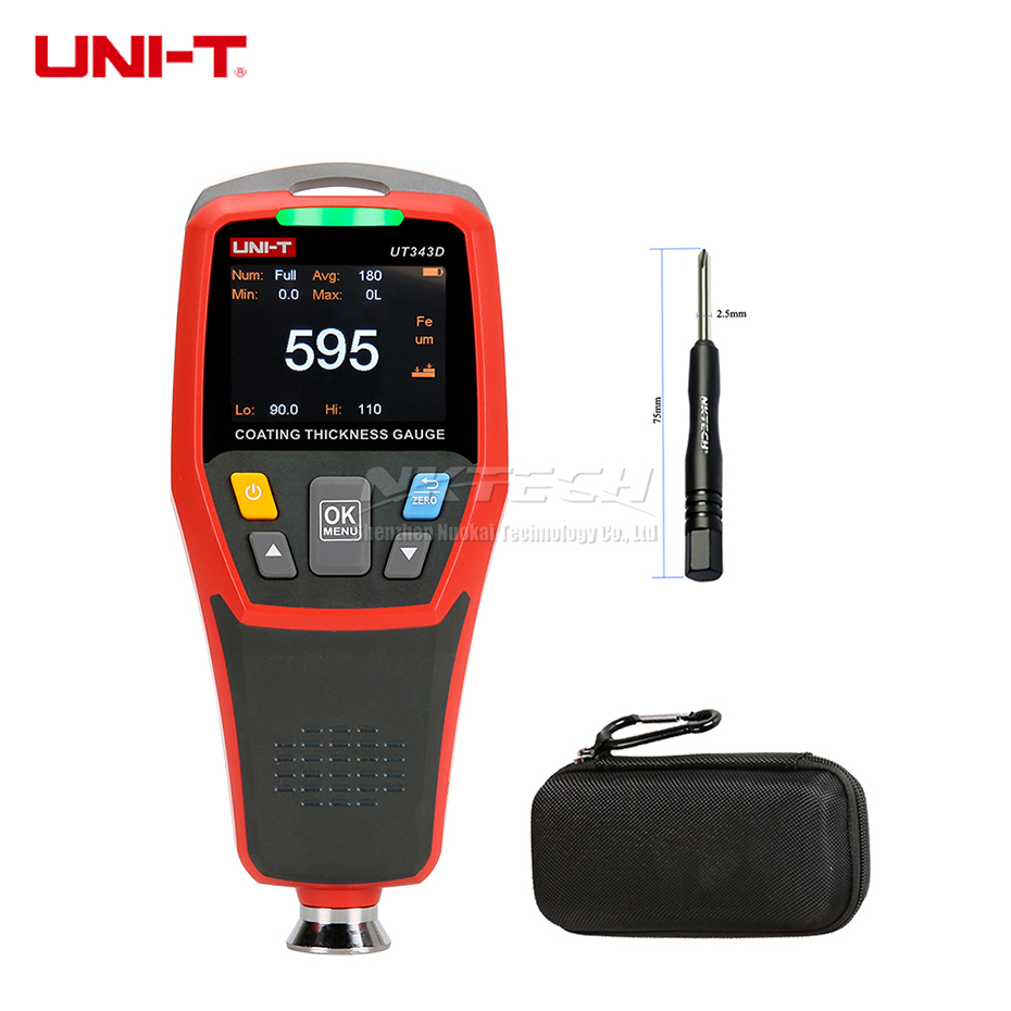 UT343D Digital Coating Thickness Gauge Meter Tester 0 1250um Iron Matrix FE Non ferrous Matrix NFE