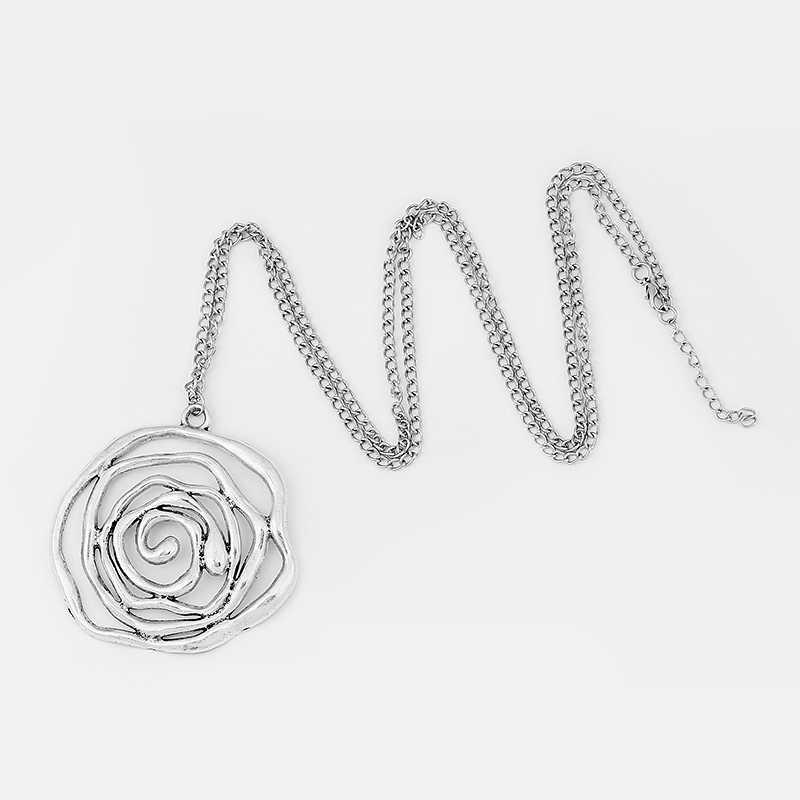 1 шт. модное ожерелье большая необычная круглая открытая спираль вихревой узор подвеска длинная Подвеска из металлической цепочки ожерелье ювелирные изделия
