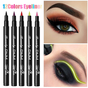 12 Colors Liquid Eyeliner Pencil Waterproof Make Up Eye Liner Pen Matte Black Red Green Colorful Liners Eyes Makeup Long Lasting