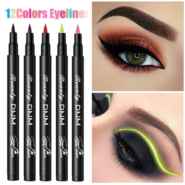 12 Colors Liquid Eyeliner Pencil Waterproof Make Up Eye Liner Pen Matte Black Red Green Colorful Liners Eyes Makeup Long Lasting