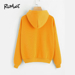 ROMWE Planet Print Drop Shoulder Hoodie Women Yellow Pullovers  Spring Autumn Ladies Hooded Full Sleeve Sweatshirt 2