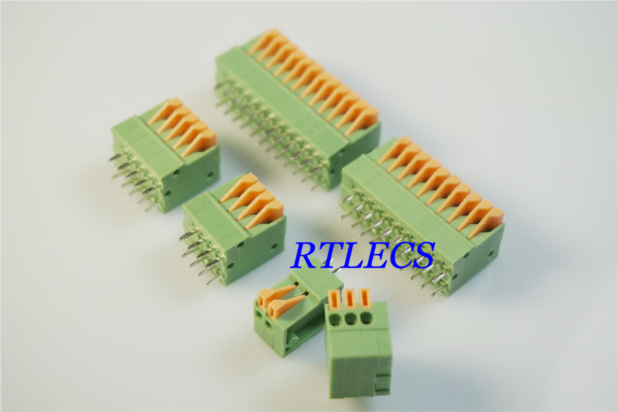 50pcs Spring Terminal Block Straight 0.100 2.54 mm Through Hole 2 Pin 3 4 5 6 7 8 10 11 12 Position Wire to Board