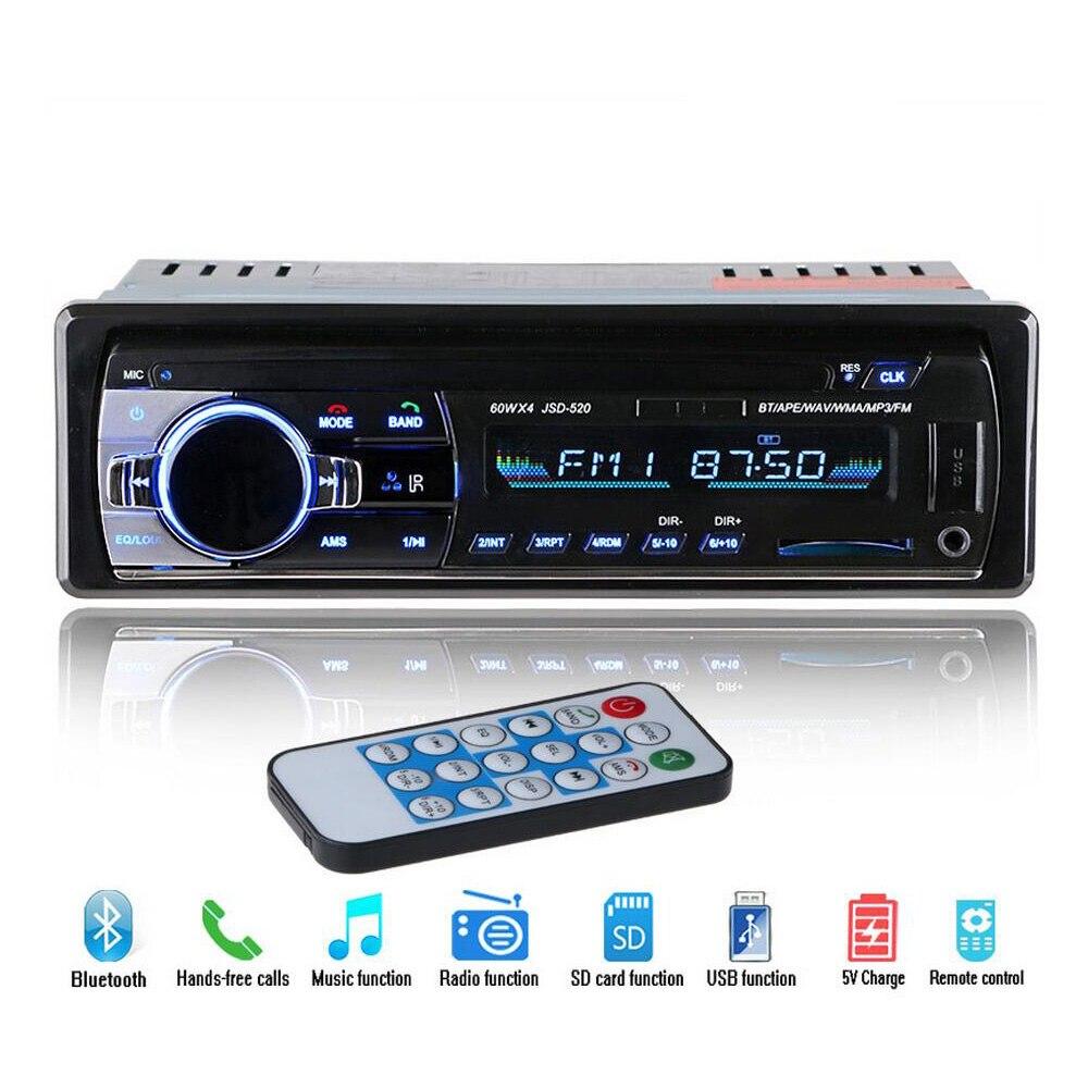 12 В Bluetooth Стерео FM радио MP3 аудио плеер 5 в зарядное устройство USB SD AUX Авто Электроника сабвуфер In-Dash 1 DIN Авторадио