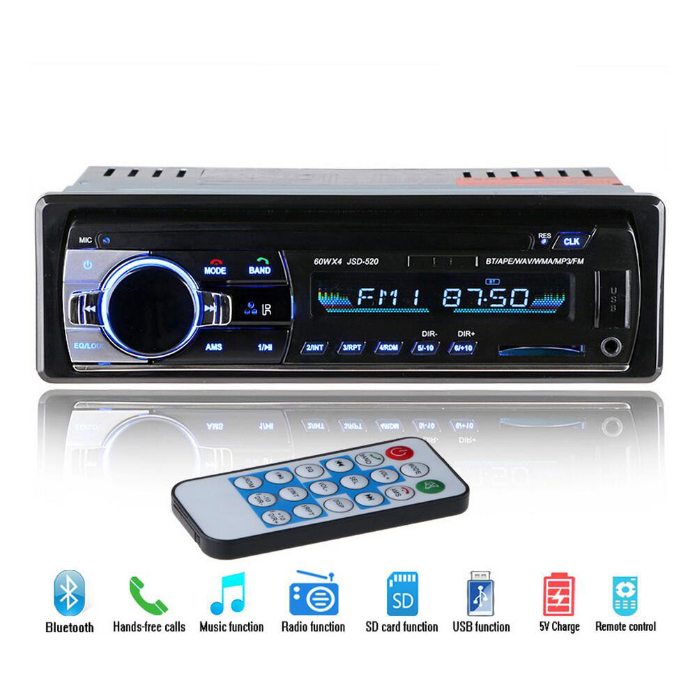 12V Bluetooth Car Stereo FM Radio MP3 Audio Player 5V Charger USB SD AUX Auto Electronics Subwoofer In-Dash 1 DIN Autoradio image