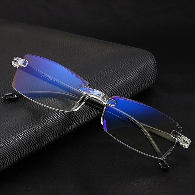 517efc5a0 Elegante Mulheres Óculos de Leitura Sem Aro Ultraleve Homens Lente Clara  Anti-Blu-Ray