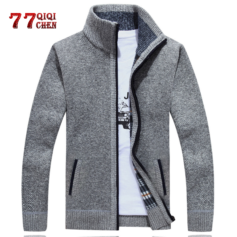 2019 Winter Autumn Men's Thick Sweatercoat Men Solid Color Stand Collar Warm Cardigan Masculino Plus Size M-3XL Sweater Jacket