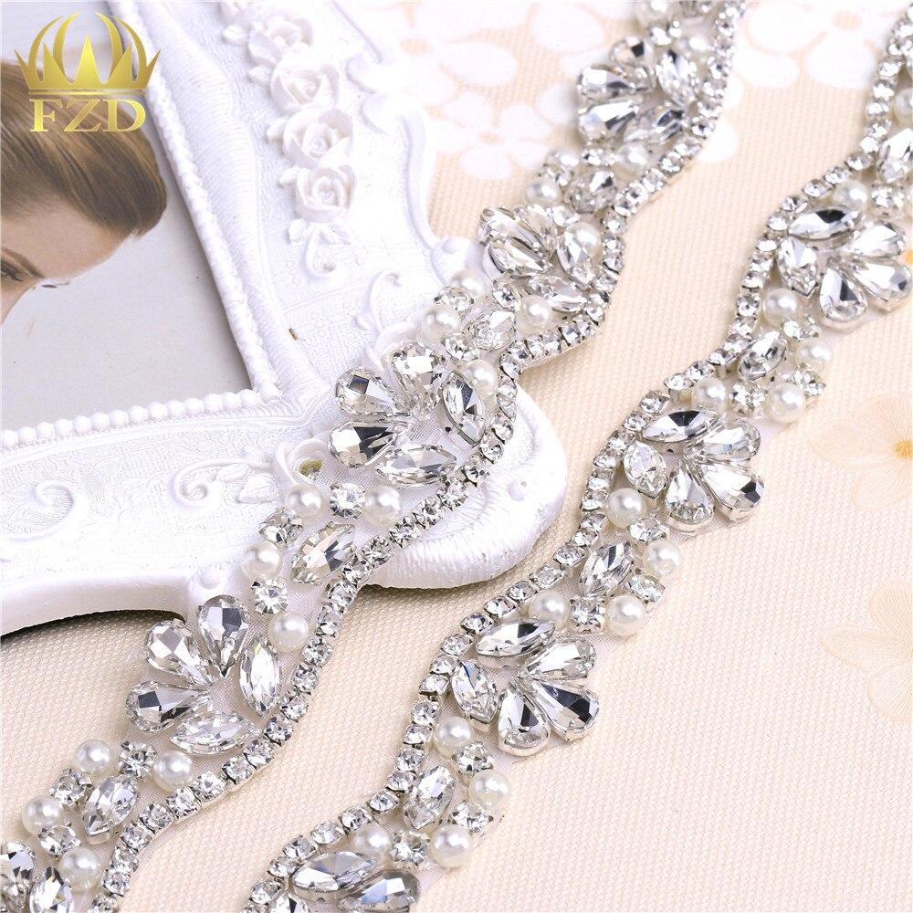 (10yards) Wholesale Iron On Sewing Beaded Wedding Sash Rhinestone Appliques Trim Sash Headpieces Garters
