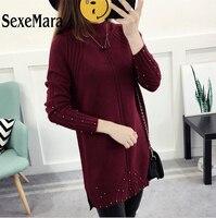 נשים סוודר קשמיר באיכות גבוהה עבים חם סריגי O-צוואר סוודרים סרוגים טאסל נשים בגדי חורף סתיו 2017