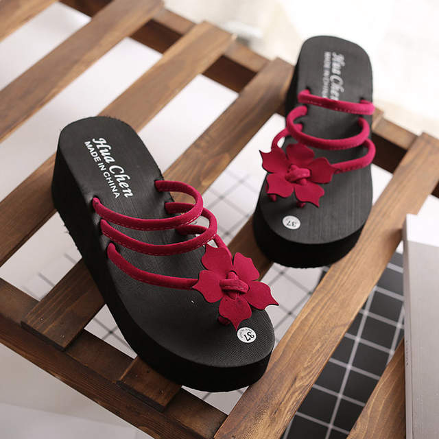e0182c729 Luxury Cute Ladies High Heel Summer Platform Slippers Designer Flip Flops  Women Flat Home Slipper Fenty Slides Jelly Shoes WC150-in Slippers from  Shoes on ...