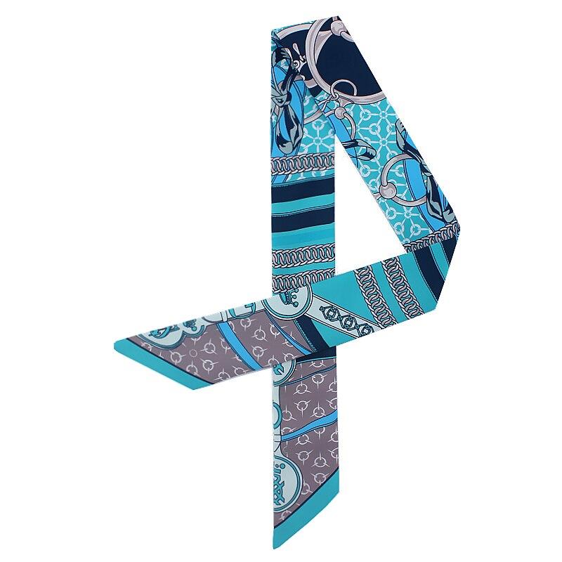 POBING Fashion Crown Chain Print Silk   Scarf   Women Head   Scarf   Brand Small Tie Handle Bag Ribbon Long   Scarves   Female   Wraps   100*5CM