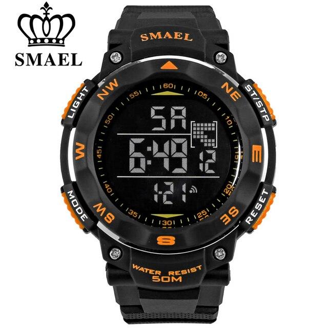 АРХИТЕКТОРЫ SMAEL марка led цифровые часы мужчины спорт 50 М водонепроницаемые часы большой циферблат часов военная световой наручные часы мода подарок