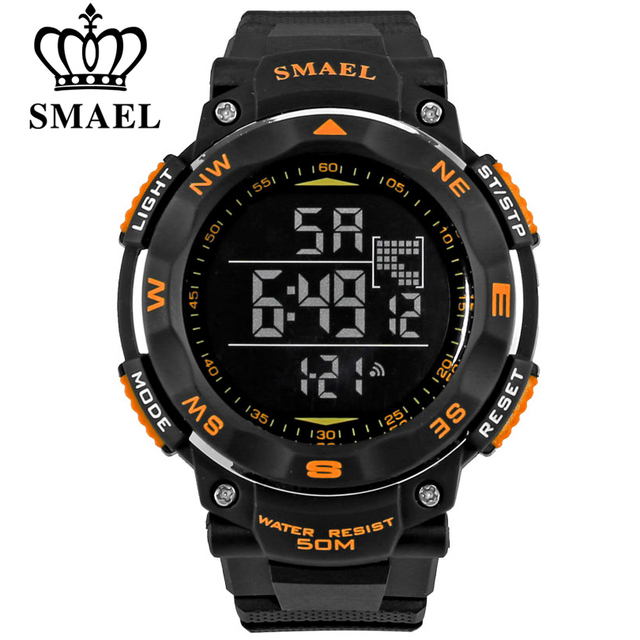 SMAEL brand led digital watches men sports 50M waterproof watch large dial hours military luminous wristwatches fashion gift