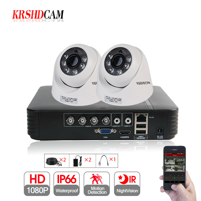 KRSHDCAM 4CH AHD DVR Security CCTV System 20M IR 2PCS 1080P CCTV Camera home indoor Camera Home Video Surveillance Kit