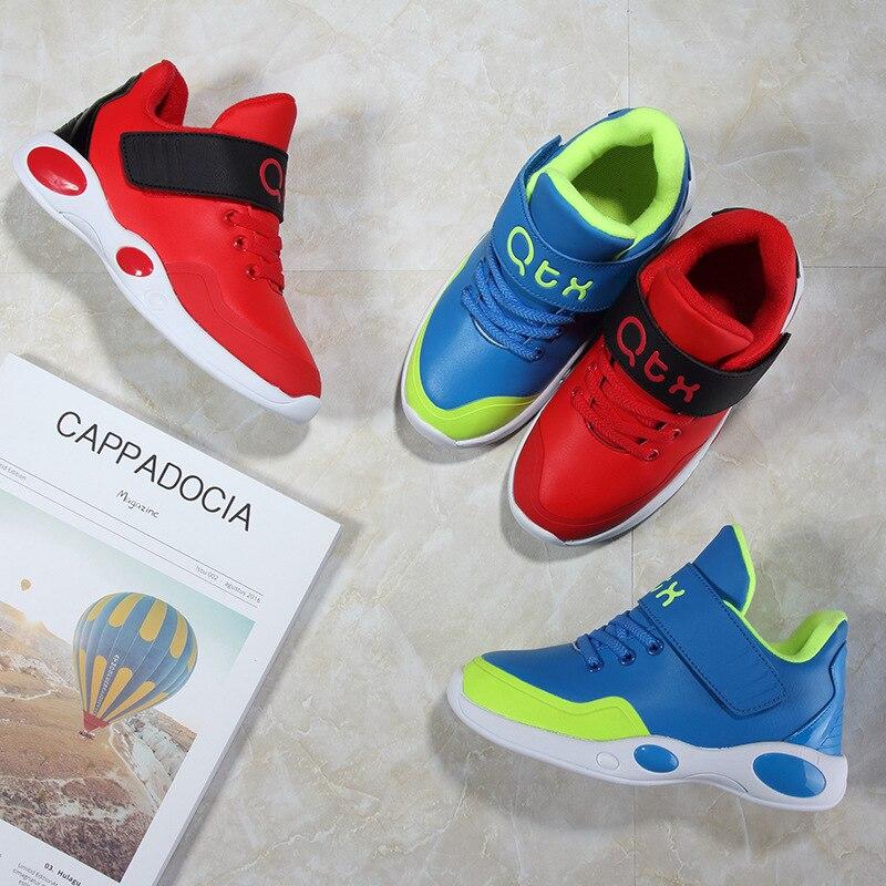 Высокая Топ Детская уличная спортивная обувь Обувь для мальчиков и девочек из искусственной кожи зимние короткие плюшевые ботинки малыш Сн...