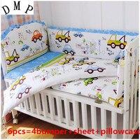 6 pçs jogo de cama do berço do bebê do carro  design adorável conjunto de cama do bebê berço pára-choques protecor bebê berçário (4 pára-choques + folha + capa de travesseiro)