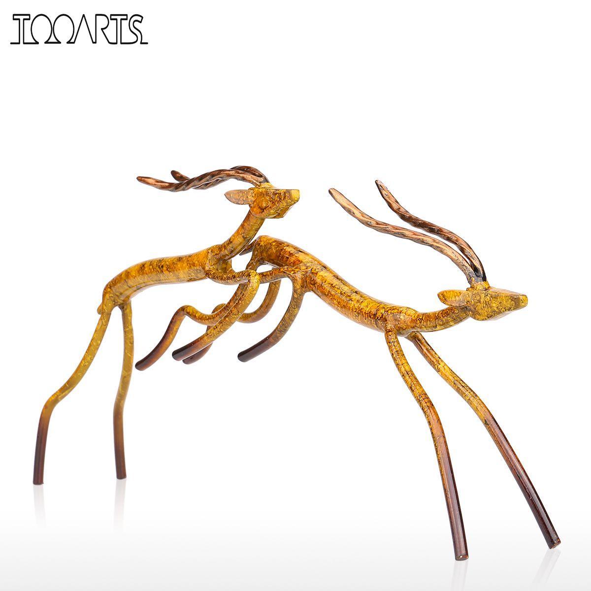 Tooarts 2 tipuri sărind antilopă Figurină Figurină de fier Figură decorativă la domiciliu Meșteșuguri Metal Animal Artizanat cadou pentru birou de acasă