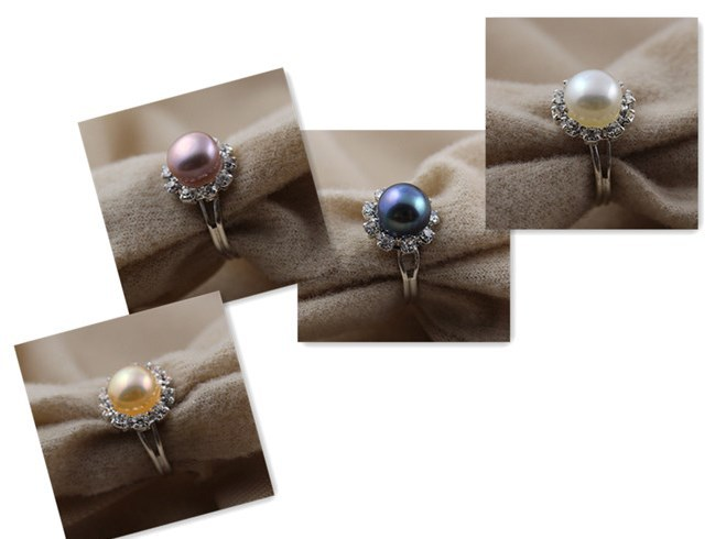 hot FREE SIZE 8MM Fashion Freshwater Pearl Ring Cheap Resizable Adjustable Finger Jewelry Party Accessory Gift