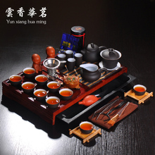 Yixing tea set purple ceramic teapot wedding set of tea cups solid wood tea tray tea ceremony on sale