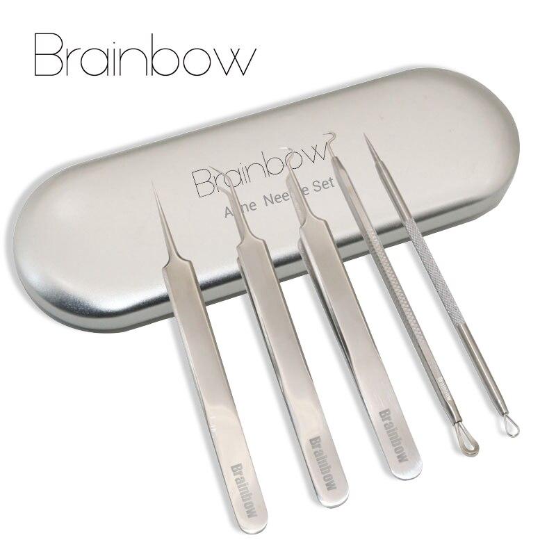 Brainbow 5 unids/caja Mejor Blackhead Extractor Tool Set Inoxidable Pinzas Espinilla Espinillas y Acné Comedone Aguja Del Acné Extractor