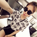 2017 Women T Shirt Summer Style Short Sleeve Cat Head Print Lovely Character Anime Cartoon Loose Casual Tops Clothes T6D1374Y