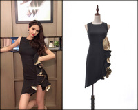 New 2019 Star s Black Dress Short for Summer Brilliant Party Sexy Irregular Sequined Piece Dress