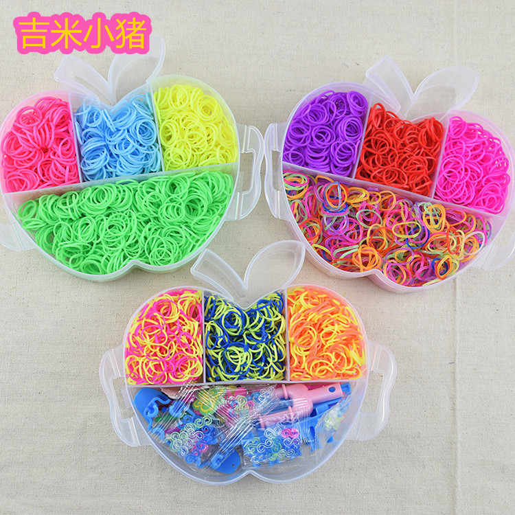 4500pcs Apple Three-tier Loom Bands Girl Gift for Children Elastic Band for Weaving Lacing Bracelets Toy Set for Diy Material