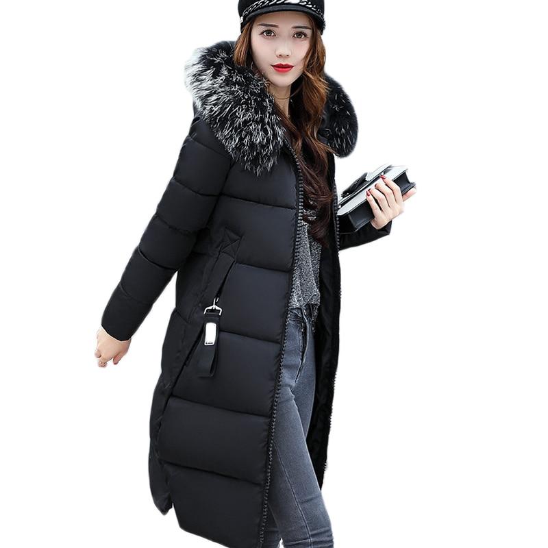 Neue 2018 Mode Warme Winter Jacke Frauen Große Pelz Dicken Dünnen Weiblichen Jacke Winter Frauen Mit Kapuze Mantel Unten Parkas Lange oberbekleidung
