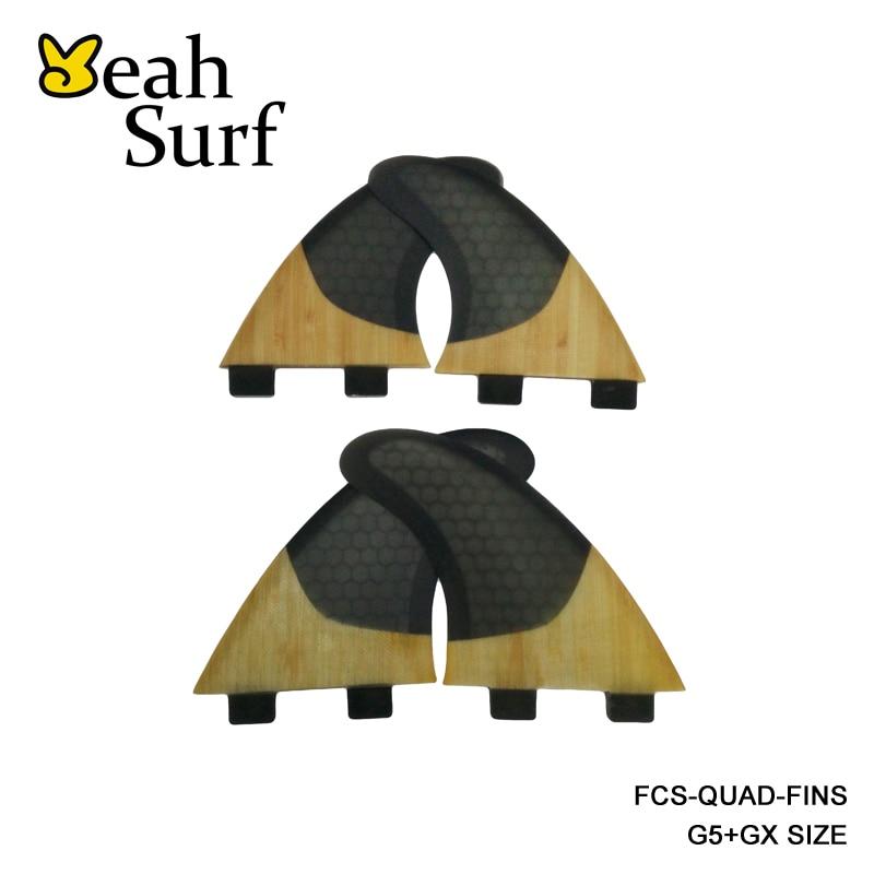 High Quality FCS/Future Fins G5+GX Surfboard Quad Fin Black Honeycomb/Bamboo FCS Quilhas цена 2016