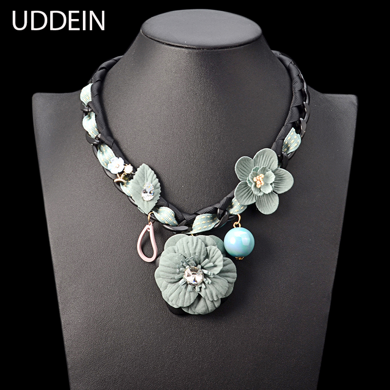 UDDEIN Black Chunky chain cloth flower necklace women vintage statement choker necklace  ...