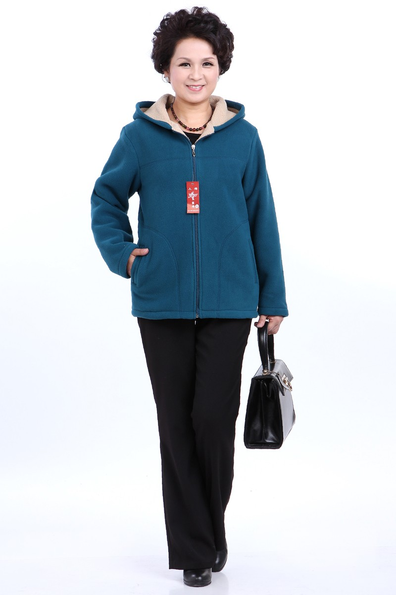 Winter Middle Aged Womens Hooded Imitation Lambs Fleece Jackets Ladies Warm Soft Velevt Coats Mother Overcoats Plus Size (2)