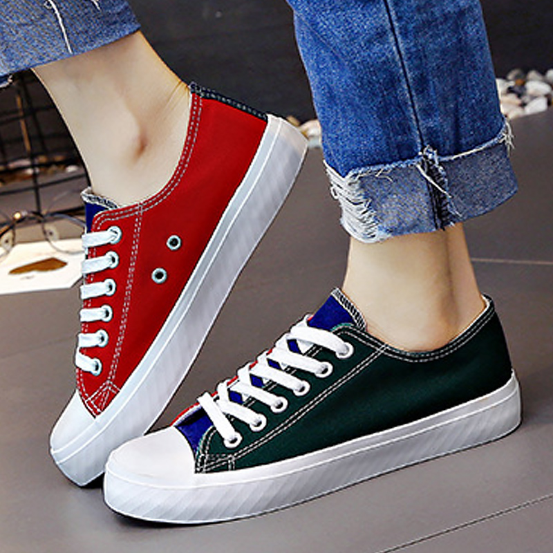 LAKESHI Fashion Mixed Colors Women Shoes Casual Canvas Shoes Female Shoes 2018 New Arrival Shallow Shoes Lace Up Women Sneakers 1