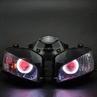 Custom Gemodificeerde Projector Koplamp Wit Angel Eyes Rode Demon Ogen Hid Conversie Gemonteerd Fit Voor CBR600RR CBR600 Rr 03-06