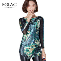 FGLAC Women Blouse Shirt New 2018 Spring Long Sleeved Gold Velvet Tops Elegant Slim Plus Size