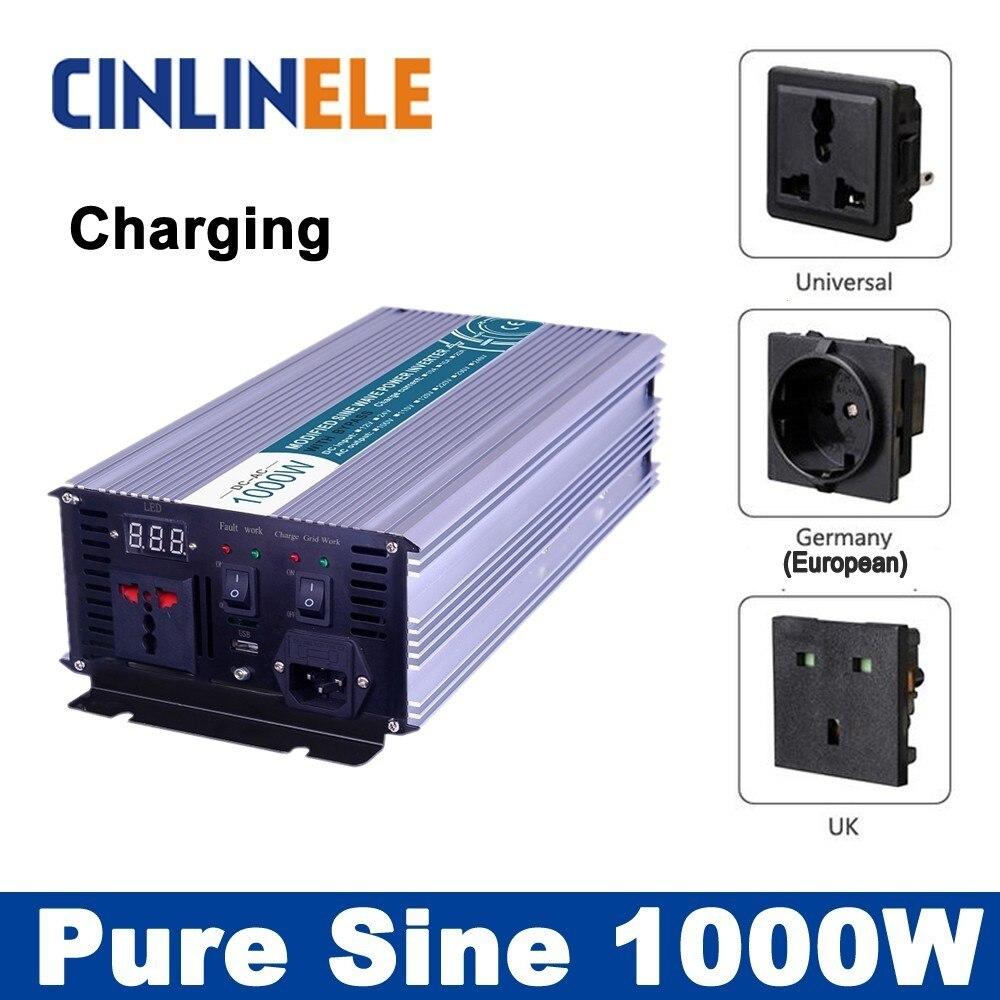 Универсальный инвертор ИБП + Зарядное устройство 1000 Вт Чистая синусоида Инвертор CLP1000A DC 12 В 24 В 48 В к AC 110 В 220 В 1000 Вт surge Мощность 2000 Вт