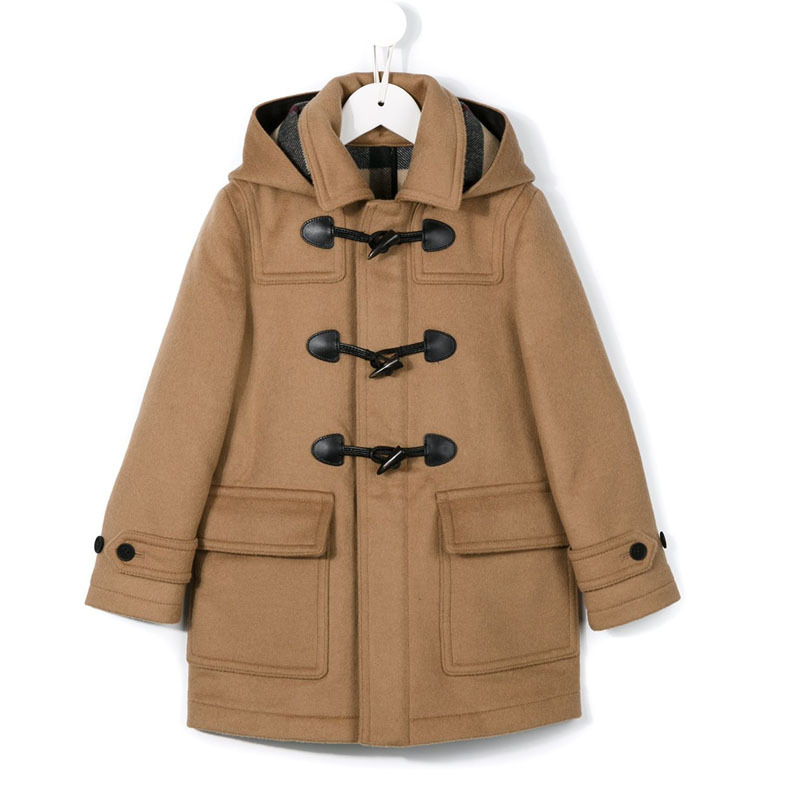 все цены на Horns buckle children winter wool coat,clasic overcoat for 110-170cm child free shipping 60% wool kids thicken overcoat unisex