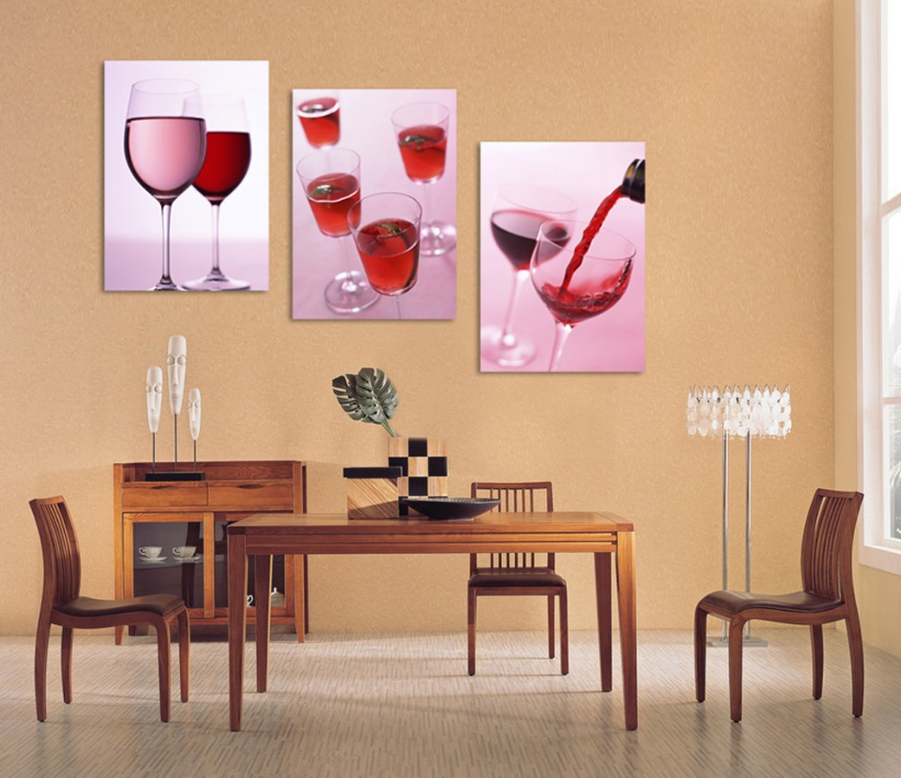 3 Piece Canvas Wall Art Kitchen Wall Art Wine Glasses Wine Painting Red  Wine Canvas Art Dinning Room Set In Painting U0026 Calligraphy From Home U0026  Garden On ...