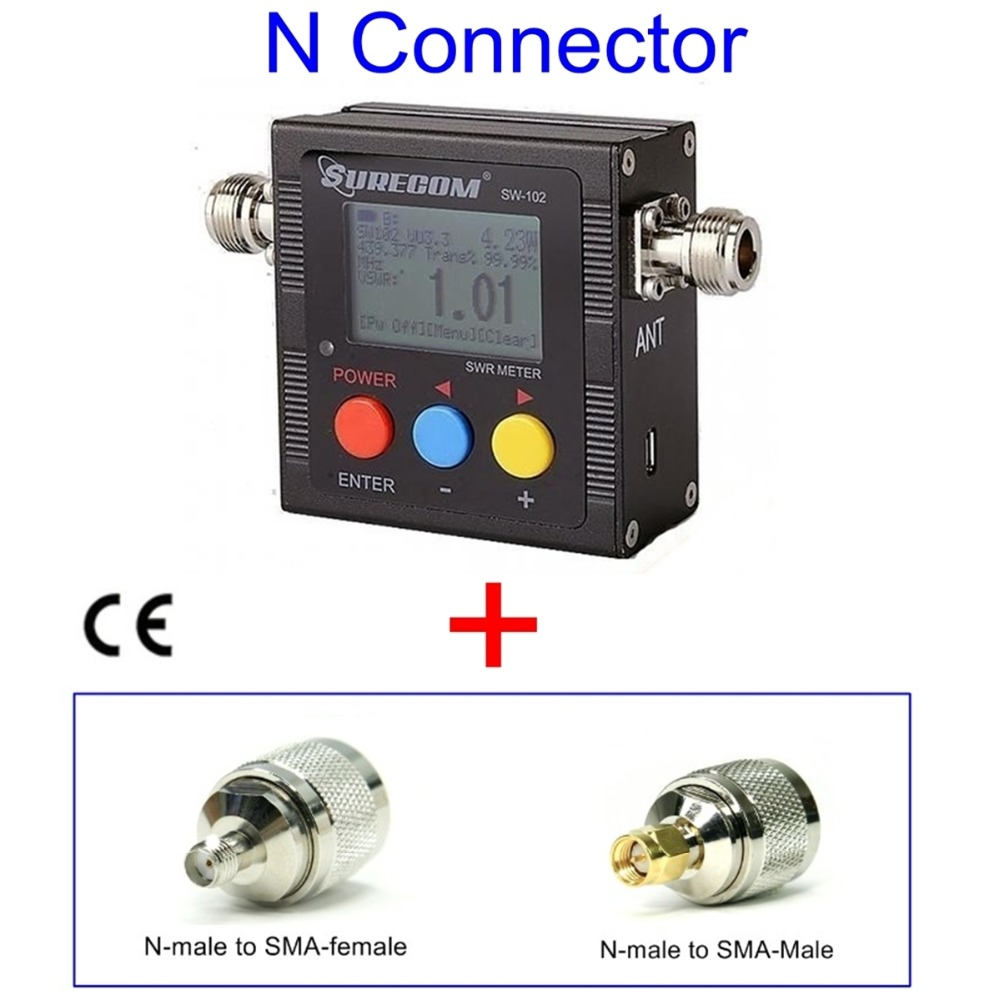 409shop מוצר SURECOM SW-102-UV דיגיטלי VHF / UHF כוח & SWR Meter & תדר מונה חינם ADAPTER עבור TK100 TK200 רדיו
