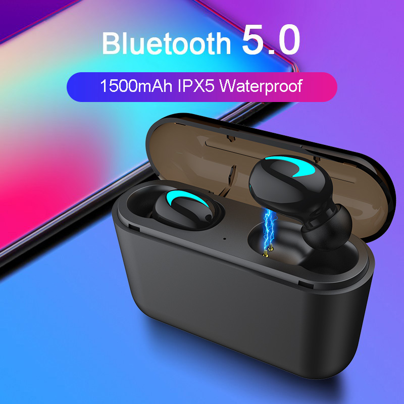 M&J TWS 5.0 Bluetooth headphone 3D stereo wireless earphone with mic IPX5 Waterproof Headset and power bank charging box 1