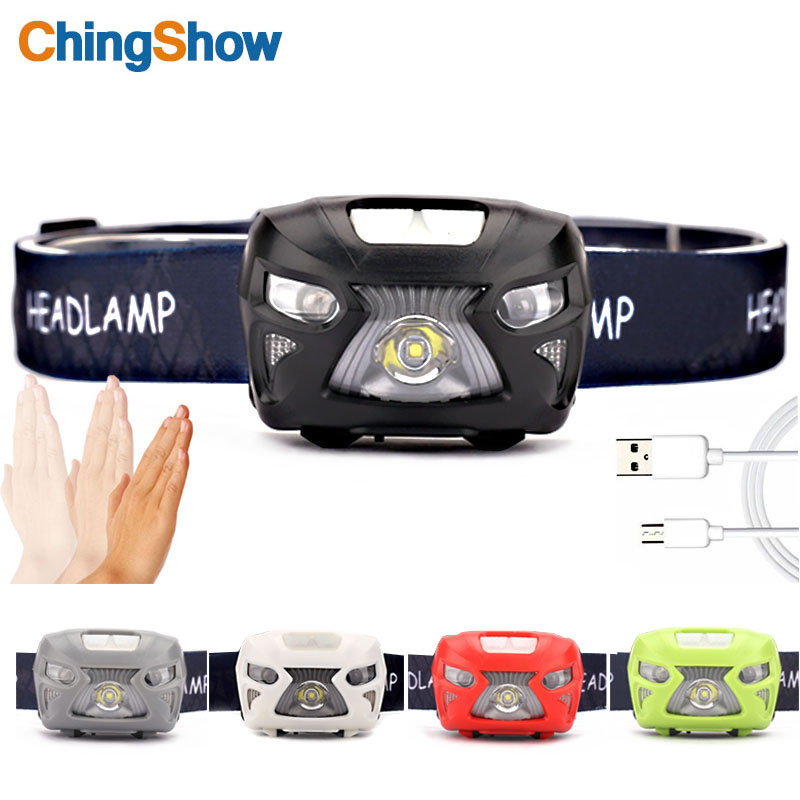 LED headlamp USB Rechargeable Headlamps Waterproof Induction Headlight,USB Cable Included Red Light 8 Modes, Running Jogging